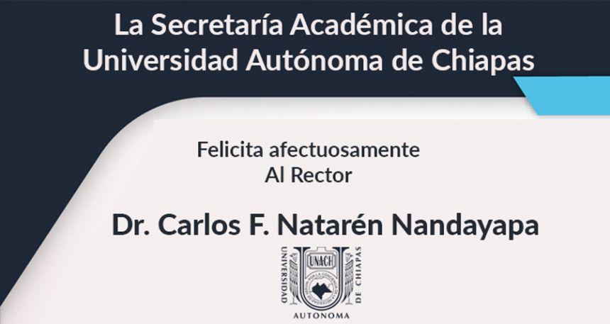 La Secretaria Académica Dra. Leticia del Carmen Flores Alfaro, felicita al Rector Dr. Carlos F. Natarén Nandayapa