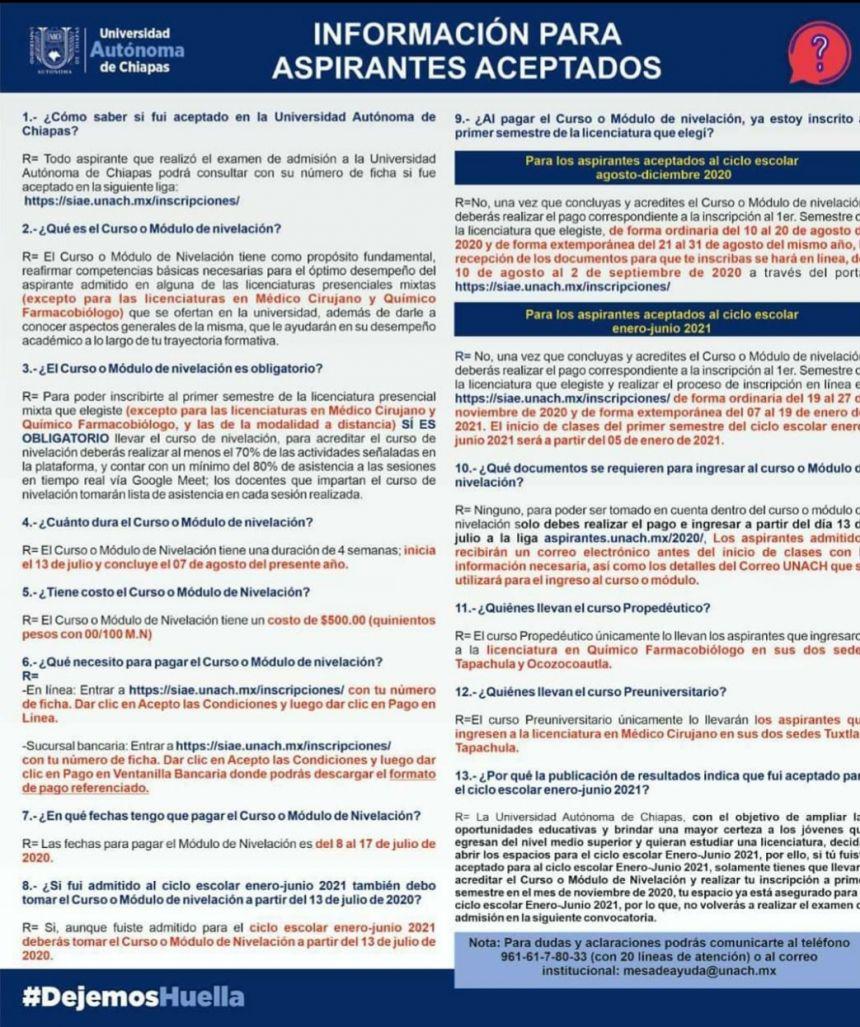 Información para el proceso de ingreso.