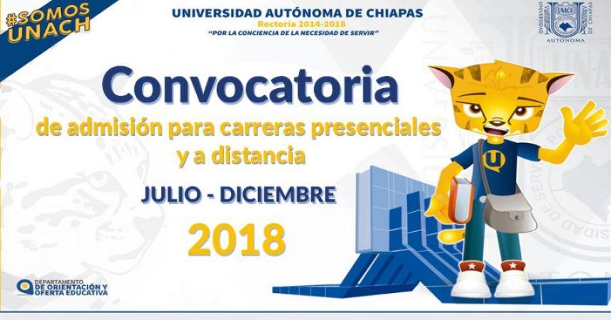 Convocatoria de admisión para carreras presenciales y a distancia Julio - Diciembre 2018