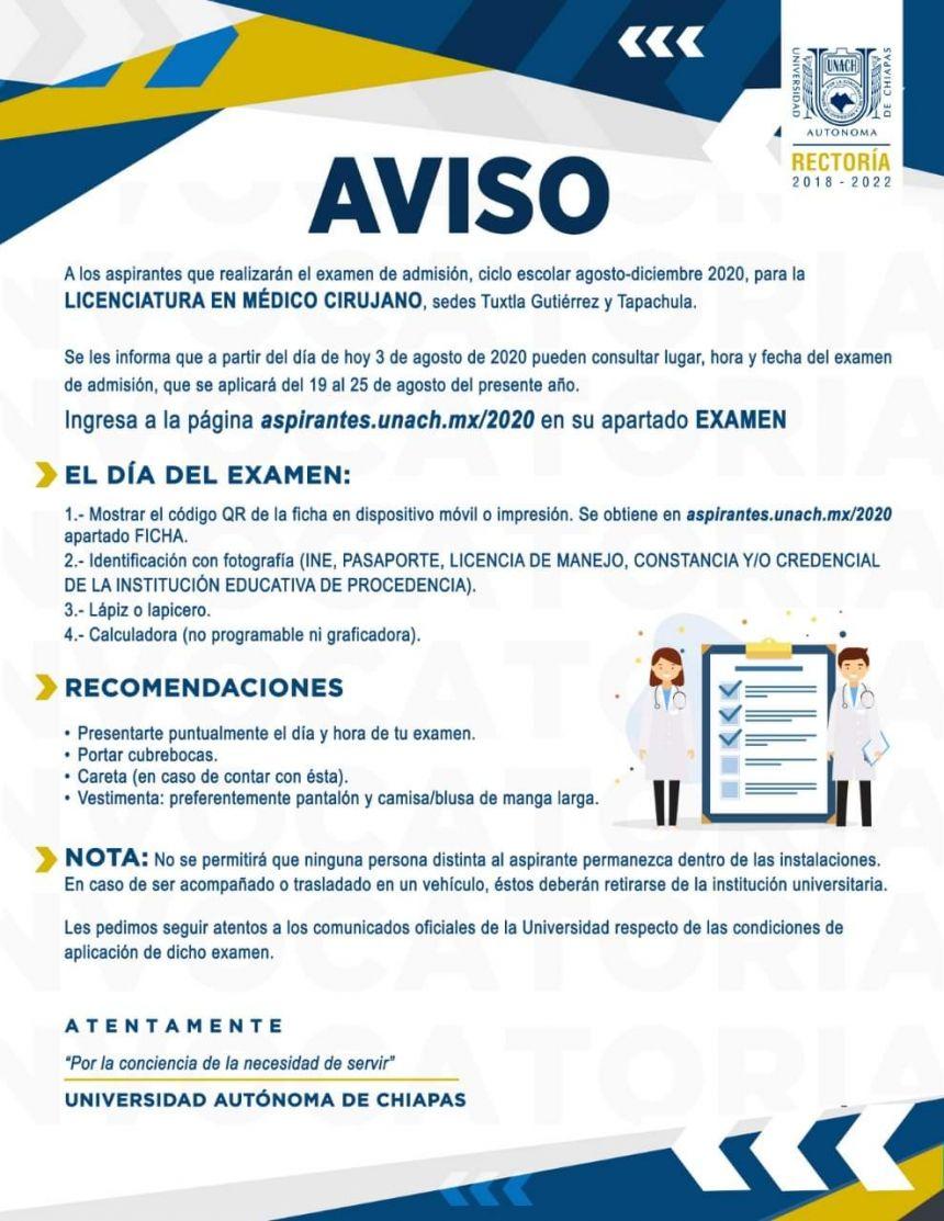 Aviso para aspirantes a Licenciatura en Médico Cirujano